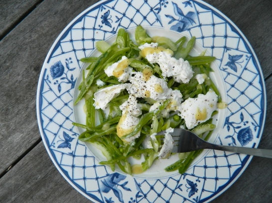snap peas and celery with burrata